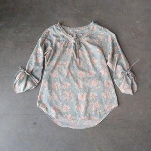 LC Lauren Conrad Floral Sleeve Tie Blouse
